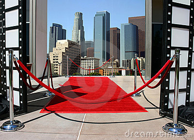 Red carpet and Los Angeles dow