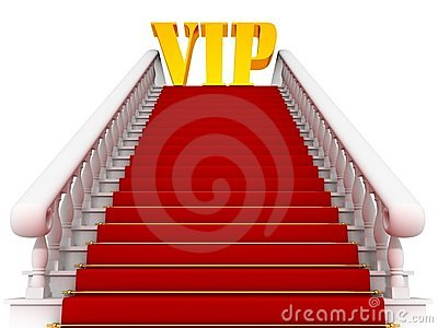 Red carpet path on a white ladder for VIP