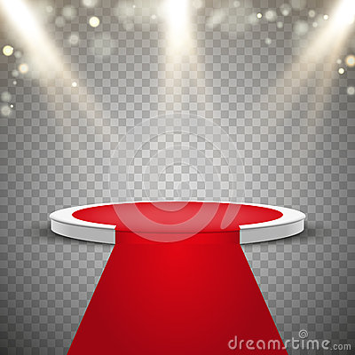 Red carpet and round podium with lights effect Vector Illustration