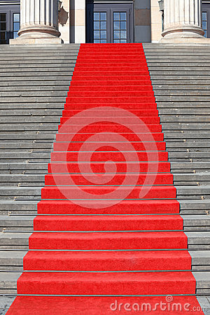 Red carpet stairs, success
