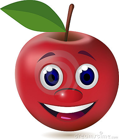 Red cartoon apple