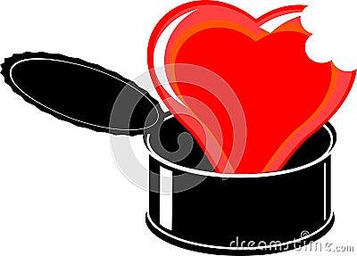 Red cartoon broken heart in black open tin