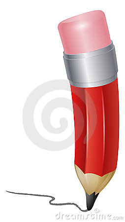 Red cartoon pencil writing