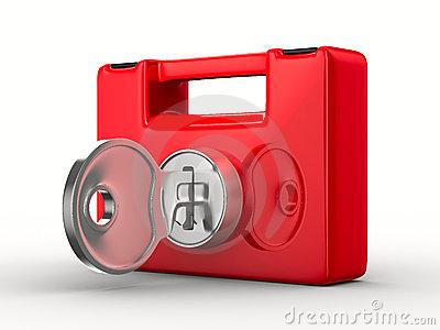 Red case with key on white background. Isolated 3D Stock Photo