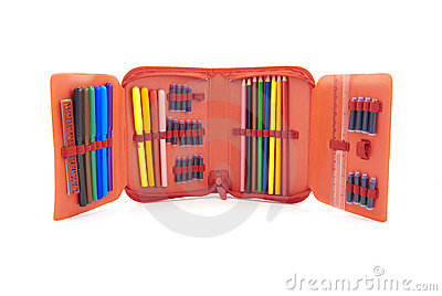Red case with a set of tip pens and pencils
