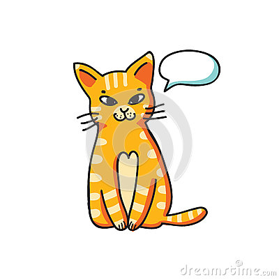 Red cat with talking bubble on white background