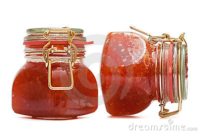 Red caviar in glass jar