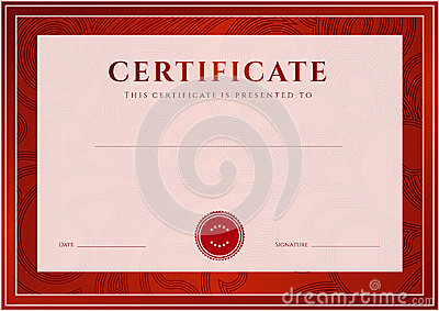 Red Certificate, Diploma template. Award pattern