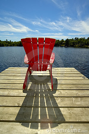 Red Chair On Deck Vertical