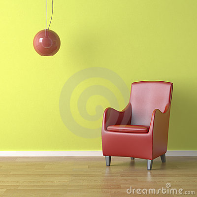Red chair on green