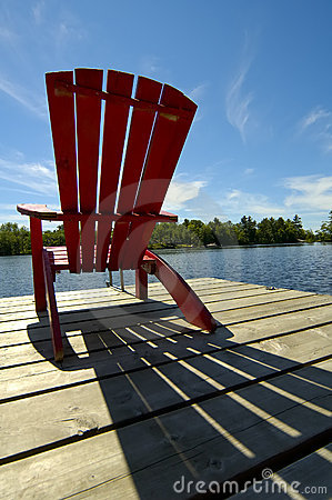 Free Red Chair Shadow On Deck Stock Photo - 155080