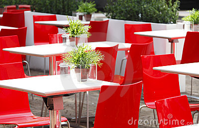 Red chairs cafe