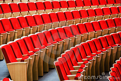 Red chairs. hall for presentation