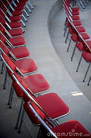 Red chairs in rows