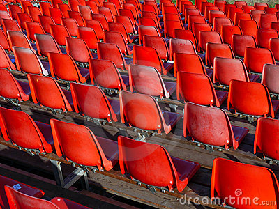 Red chairs at the stadium