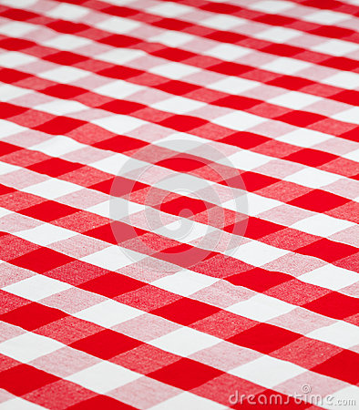 Red checkered gingham fabric tablecloth