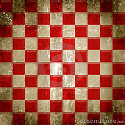 Red and white distressed grunge background of checks or squares.