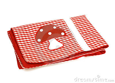 Red checkered picnic cloth with applique, isolated