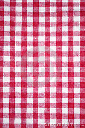 Red checkered tablecloth