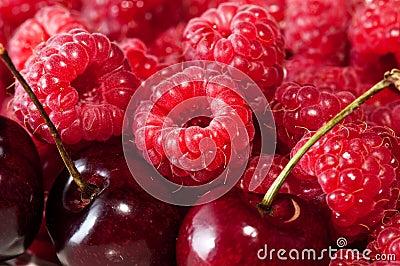 Red cherries and raspberries.