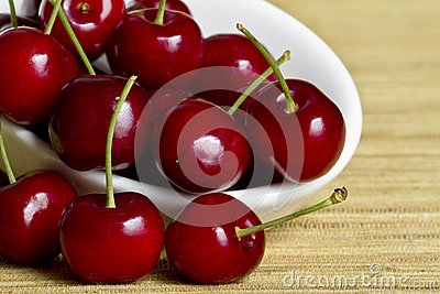 Red cherries in white spoon