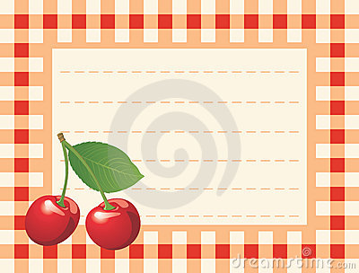 Red cherry on chequered background