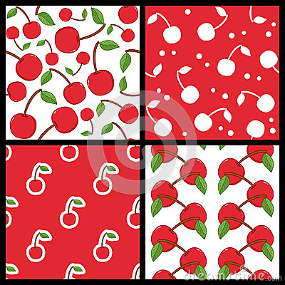 Red Cherry Fruit Seamless Patterns Set