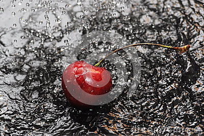 Red cherry in water