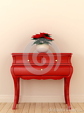 Free Red Chest Of Drawers And A Plant Royalty Free Stock Images - 28075859