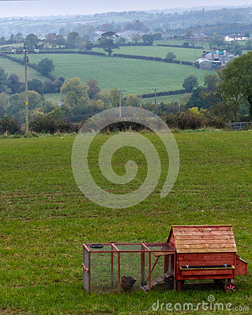 Free Red Chicken Coop In Rural Northern Ireland Farmland Stock Image - 72374431