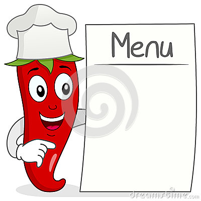 Red Chili Pepper with Blank Menu