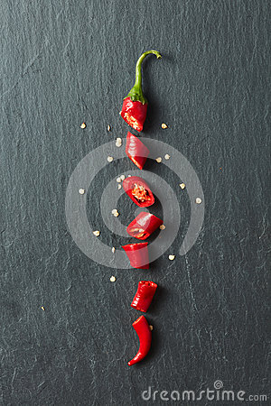 Free Red Chili Pepper Cut Into Slices Stock Images - 79025254
