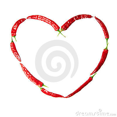 Red chili peppers heart