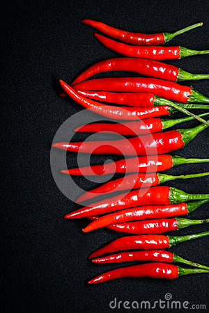 Free Red Chili Peppers On Black Background, Fresh Hot Chili Peppers. Royalty Free Stock Photos - 93265088