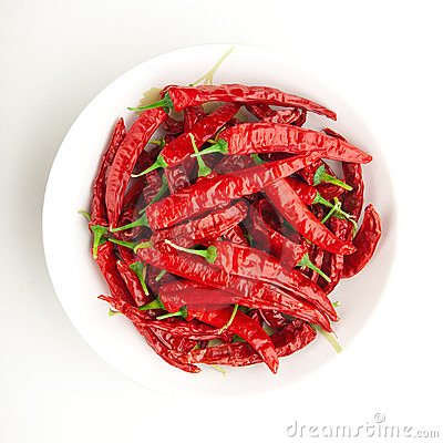 Red chili peppers on the plate