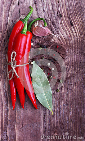 Red chilli pepper and spices