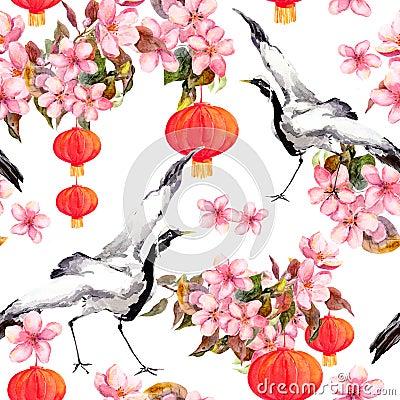 Free Red Chinese Lantern In Spring Pink Flowers - Apple, Plum, Cherry, Sakura And Dancing Crane Birds. Seamless Pattern Royalty Free Stock Photo - 86694385