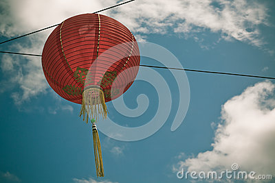 Red Chinese Paper Lantern against a Blue Sky