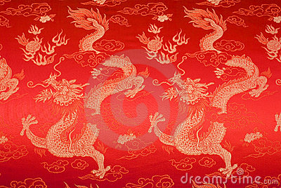 Red chinese silk with golden dragons and flowers