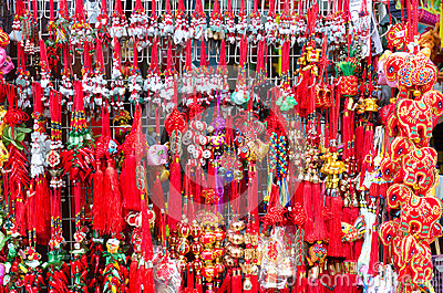 Red chinese tassels at chinatown