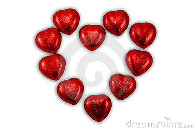 Red chocolate hearts candies