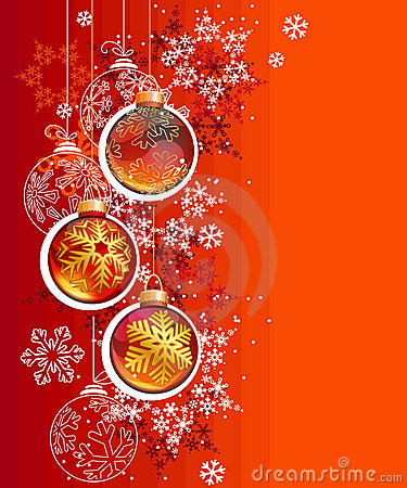 Red Christmas background with hanging balls