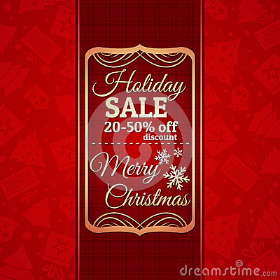 Red christmas background and label with sale offer