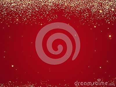 Red Christmas background texture with stars falling from above. Stock Photo
