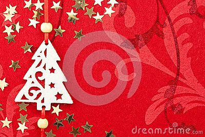 Red Christmas Background with Tree, Stars and Ornament Stock Photo