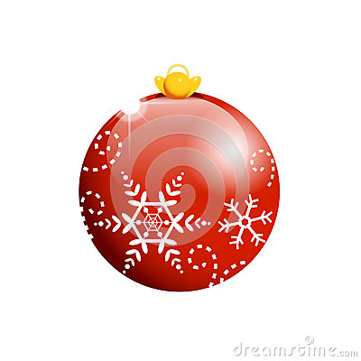 Red Christmas ball with flakes