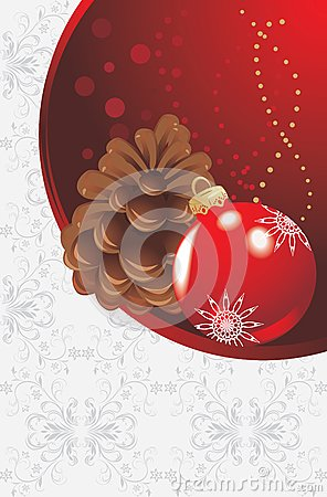 Red Christmas ball and pinecone