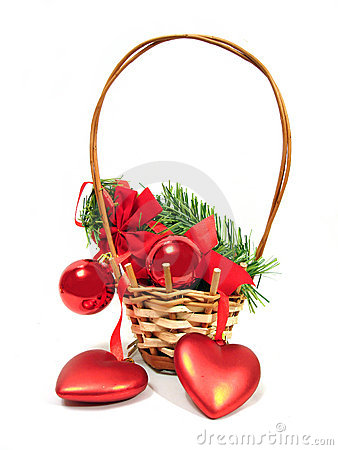 Free Red Christmas Balls And Hearts On A Fur-trees Branch In Basket O Stock Images - 1624224