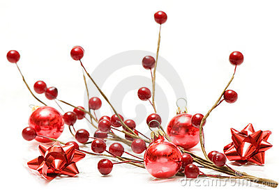 Red christmas balls and bows