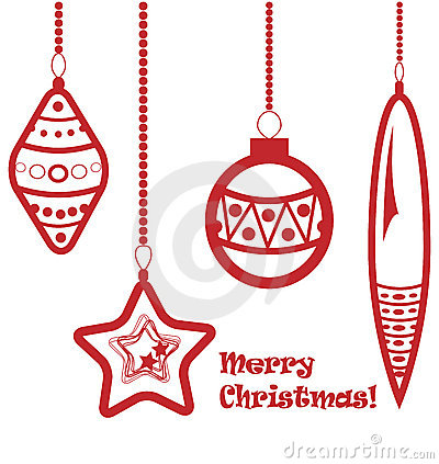Red christmas balls garland